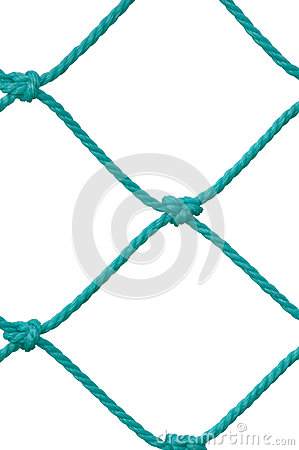 Soccer Football Goal Post Set Net Rope Detail, New Green Goalnet Netting Ropes Knots Pattern, Vertical Macro Closeup, Isolated
