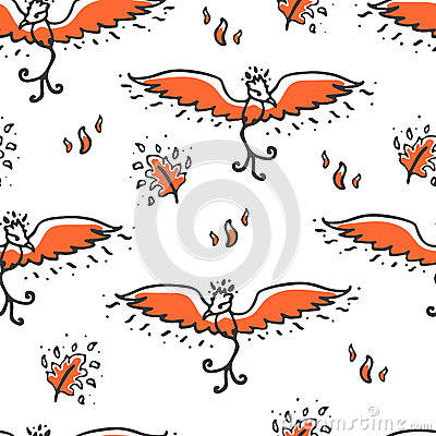 Seamless pattern with phoenix and feathers