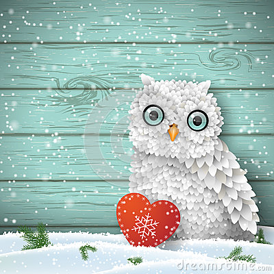 Cute white owl sitting in snow in front of blue wooden wall, winter holiday theme, illustration
