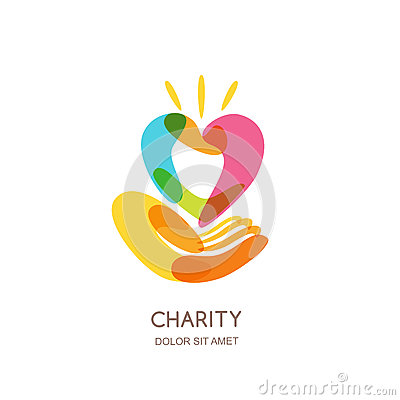 Charity logo design template. Abstract colorful heart on human hand, isolated icon, symbol, emblem. Concept for voluntary.