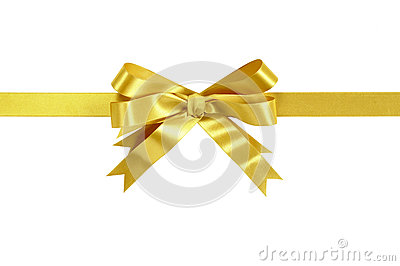 Gold bow gift ribbon straight horizontal