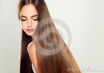 Young attractive model with long, straight hair.