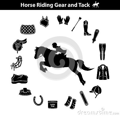 Woman Riding Horse Silhouette. Equestrian Sport Equipment Icons Set. Gear and Tack accessories.