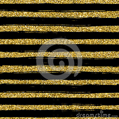 Golden glitter texture line on black background seamless pattern