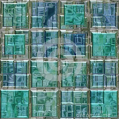 Blue green colored glass square mosaic pattern texture seamless background