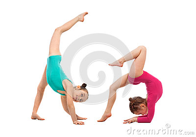 Flexible kids gymnasts doing acrobatic feat, isolated on white background