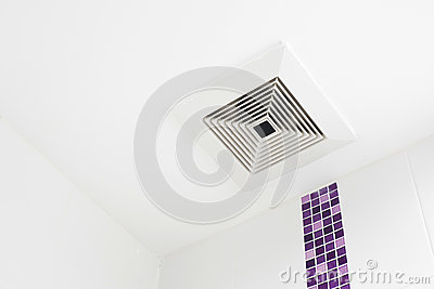 The ceiling fan in the bathroom