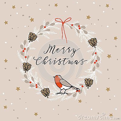 Vintage Merry Christmas , Happy New Year greeting card, invitation. Wreath made of evergreen branches, berries, finch bird.