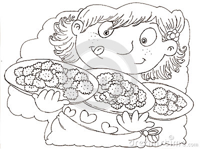 A girl with biscuits chine coloring for kids
