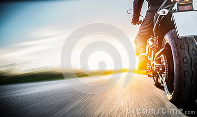 Motorbike on the road riding. having fun riding the empty road o