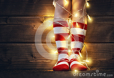 Feet in red and white socks