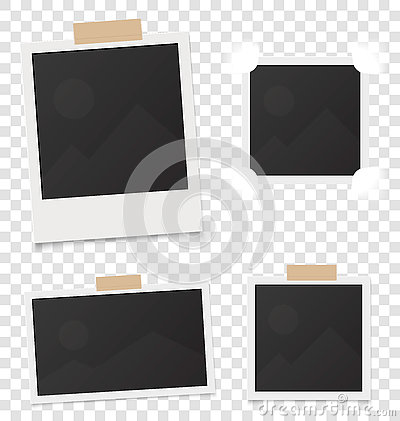 Collage of realistic blank instant photos isolated on sticky tape. Vector illustration set. Template retro photo design