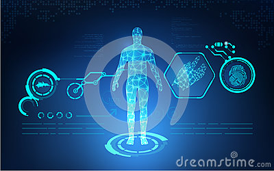 AI Abstract technological health care; science blue print; scientific interface; futuristic backdrop; digital blueprint of human;