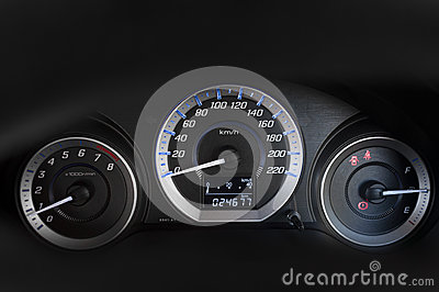 Modern with the gauges on the dashboard of a car