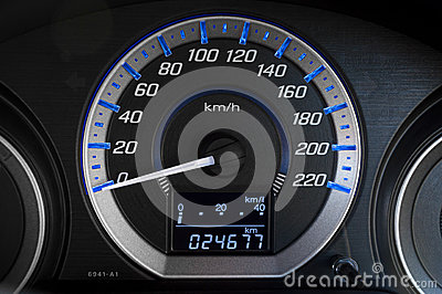Modern detail with the gauges on the dashboard of a car