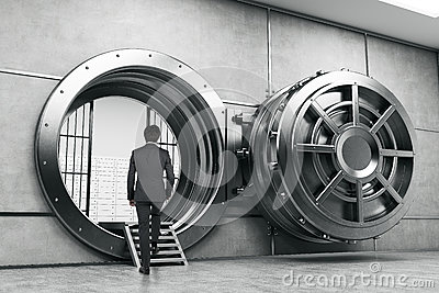 Man in suit entering the vault