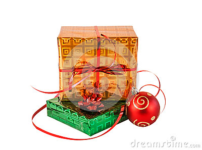 Gift boxes and christmas ball. Isolated on white