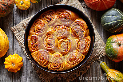 Cinnamon pumpkin dough bun rolls spicy traditional Danish baked vegan sweet autumn treat