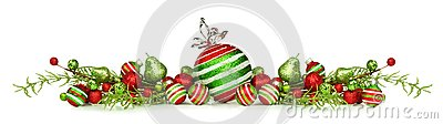Christmas border of red, green and white ornaments and branches