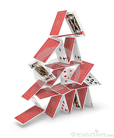 House of cards tower 3D collapsing