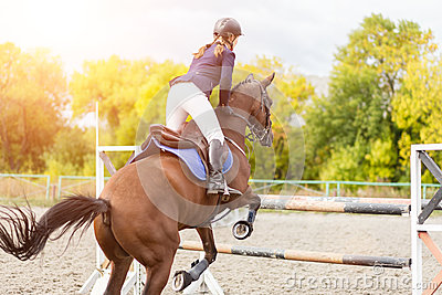 Equestrian sport image. Show jumping competition