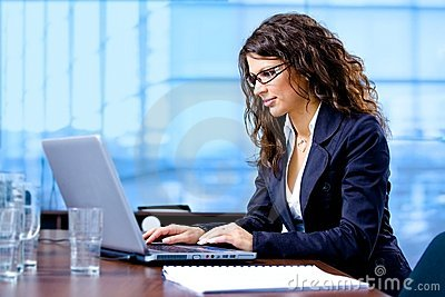 Businesswoman working on computer