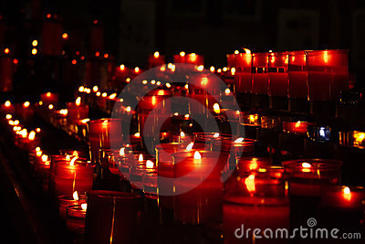 Red candles in church