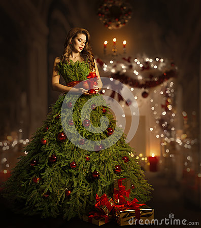 Woman Christmas Tree Dress, Fashion Model in Xmas Gown Costume