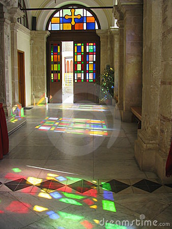 Reflections of stained glass windows