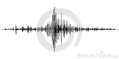 Seismogram of different seismic activity record vector illustration, earthquake wave on paper fixing, stereo audio wave diagram ba