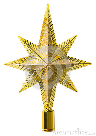 Star Top Decoration, Christmas Tree Topper, White Isolated