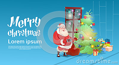 Santa Claus Put Presents Under Christmas Green Tree Greeting Card Decoration Happy New Year Banner