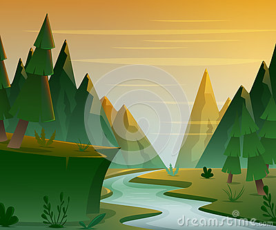 Cartoon forest landscape with mountains, river and fir-trees. Sunset or sunrise scenery background.