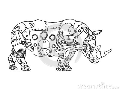 Steampunk style rhinoceros coloring book vector