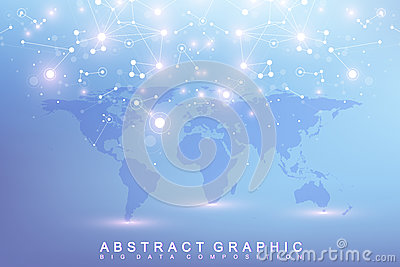 Graphic abstract background communication. Big data complex with compounds. Perspective backdrop with World Map. Minimal