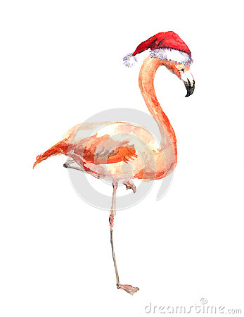 Christmas flamingo in red santa's hat. Watercolor bird