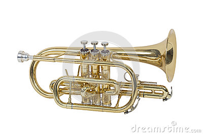 Classical wind musical instrument cornet isolated on white background