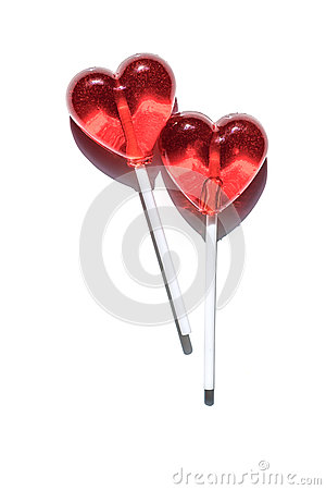 Two lollipops. Red hearts. Candy. Love concept. Valentine day