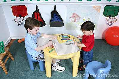 Boys Coloring at Preschool