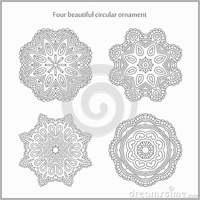 Set gentle and light circular ornament. Mandala. Vintage decorative elements. Set of beautiful ethnic, oriental ornaments.