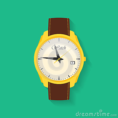 Icon of wrist watch. Symbol of hand clock. Vector illustration of timepiece, chronometer