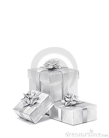 Celebration silver gift boxes isolated on white background