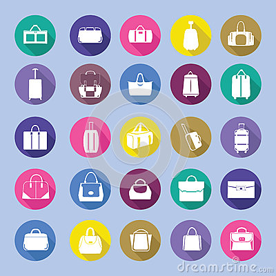 Bags silhouettes icon set,