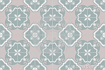 Traditional ornate portuguese and brazilian tiles azulejos. Faded dingy worn colors azulejo tiles. Vector illustration.