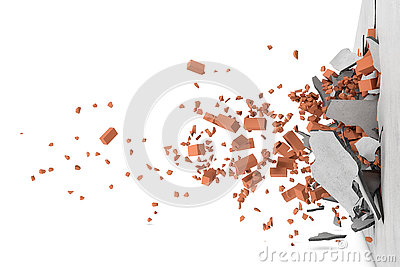 Rendering of concrete broken wall with rusty red bricks and their pieces flying apart after smash