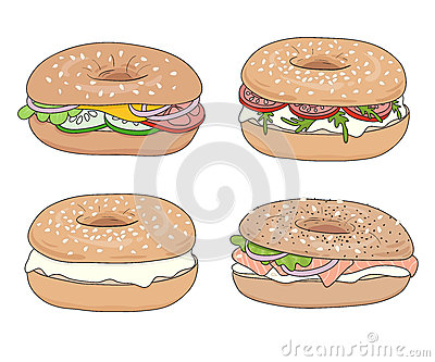 Set of 4 fresh bagel sandwiches with different fillings. Cream cheese, lox, vegetables. Vector illustration.