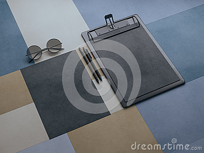 Branding stationery mockup scene, blank objects for placing your design. Colored kraft paper on background 3d rendering.