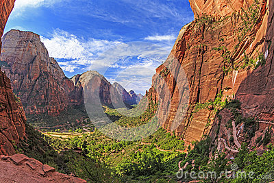 A lookout on Angels Landing Trail, Zion National Park, Utah