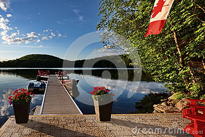 Cottage lakeside dock.