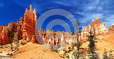 Bryce Canyon National Park, Utah, Southwest, USA - Landscape Panorama of Hoodoos in Queens Garden